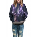 New Fashion Lightning Cartoon Cat Printed Long Sleeve Unisex Hoodie