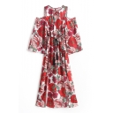 Round Neck Cold Shoulder 3/4 Sleeve Floral Printed Maxi A-Line Dress