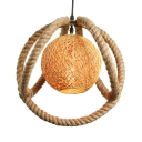 Nordic Style 1 Light Rope LED Pendant with Rattan Ball Accent