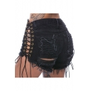 New Stylish Lace-Up Sides Ripped Midi Waist Plain Denim Shorts