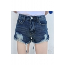Fashion Ripped High Waist Plain Denim Shorts with Contrast Pocket
