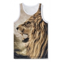 Round Neck Sleeveless Lion Pattern Loose Casual Sports Tank Tee