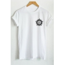 Street Style Printed Simple Round Neck Short Sleeve Casual Cotton T-Shirt