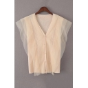 New Arrival Mesh Patchwork Single Breasted Sleeveless V-Neck Plain Knitted Vest