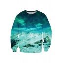 Digital Cartoon Snow Mountain Pattern Round Neck Long Sleeve Pullover Sweatshirt