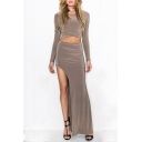 Sexy Long Sleeve Cropped T-Shirt with Split Side Maxi Bodycon Skirt Plain Co-Ords