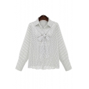 Fashion Oversize Polka Dots Lapel Long Sleeve Single Breasted Shirt