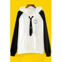 New Arrival Chic Color Block Long Sleeve Loose Casual Hoodie