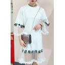 Mesh Patchwork Bell 3/4 Length Sleeve Round Neck Midi T-Shirt Dress