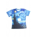 Galaxy Printed Round Neck Short Sleeve Leisure Loose Pullover T-Shirt