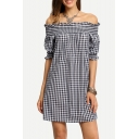 Classic Plaids Pattern Off The Shoulder Short Sleeve Mini Shift Dress