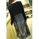 Fashion Lace Patchwork Open Front Long Sleeve Plain Tunic Cardigan