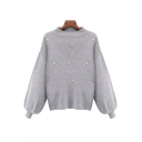 New Arrival Dropped Lantern Long Sleeve Beaded Plain Oversize Pullover Sweater
