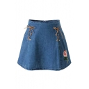 Lace-Up Sides Embroidery Floral Pattern Zip Back Mini A-Line Denim Skirt