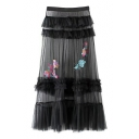 Sheer Sequined Embroidery Multi-Layered Maxi A-Line Skirt