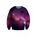Hot Fashion 3D Galaxy Printed Long Sleeve Round Neck Pullover Sweatshirt