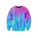 Hot Fashion Galaxy Printed Round Neck Long Sleeve Pullover Sweatshirt
