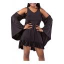 Summer's Batwing Sleeve Cold Shoulder V Neck Plain Mini A-Line Dress