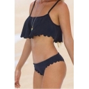 New Arrival Plain Ruffle Hem Scalloped Trim Bikini Swimwear