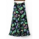 Comfortable Floral Printed Color Block Zip Side Ruffle Hem Wide Leg Pants