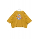 Round Neck 3/4 Sleeve Letter Embroidered Loose Casual Oversize T-Shirt