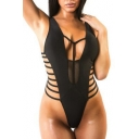 New Arrival Sexy Hollow Out Sheer Mesh Patched Plain One Piece Swimwear