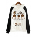 New Stylish Cartoon Pattern Color Block Long Sleeve Casual Leisure Hoodie