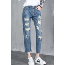 New Fashion Ripped Plain Casual Leisure Straight Legs Capris Jeans