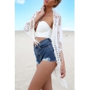 Fashion See Through Tassel Lace Long Sleeve Open Front Top