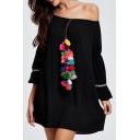 New Arrival Chic Pompom Design Off The Shoulder Flared Sleeve Mini Swing Dress