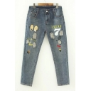 Cartoon Letter Embroidered Ripped High Waist Oversize Skinny Jeans