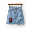 Fashion Patchwork Floral Appliqued Ripped Mini A-Line Denim Skirt