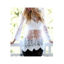 Sexy Sheer Lace Floral Long Sleeve Round Neck Scallop Hem Cover Ups