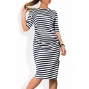 Women's Striped Color Block Half Sleeve Midi Pencil Dress