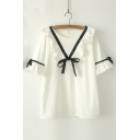 Ruffle Hem Bow Tie Round Neck Short Sleeve Loose Leisure Pullover Blouse