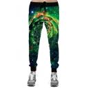 Digital Galaxy Pattern Drawstring Waist Loose Leisure Sports Pants