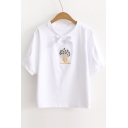 Women's Fresh Embroidery Floral Pattern Tied Round Neck Short Sleeve Tee