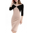 Elegant Color Block 3/4 Length Sleeve Boat Neck Zip Back Midi Pencil Dress