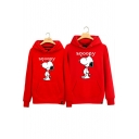 Classic Cartoon Snoopy Printed Long Sleeve Cotton Hoodie for Couple