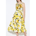 Chic Floral Printed Sleeveless Squared Neck Midi A-Line Dress