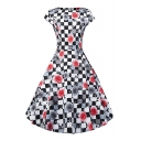 Retro Geometric Floral Printed Round Neck Short Sleeve A-Line Flared Evening Dress