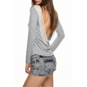 Hot Fashion V Open Back Boat Neck Long Sleeve Lace Trim Pullover T-Shirt