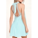 Summer's Halter Neck Bow Back Lace Trim Plain Mini A-Line Dress