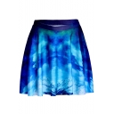 Digital Galaxy Cloud Printed A-Line Mini Pleated Skirt
