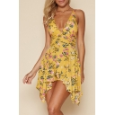Plunge Neck Sleeveless Floral Pattern Asymmetrical Trim Rompers