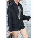 BF Style Single Breasted Ripped Stand-Up Collar Plain Denim Jacket