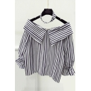 Vertical Striped Choker Lapel Bell Long Sleeve Color Block Blouse