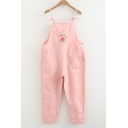 Lovely Watermelon Embroidered Girls' Casual Leisure Capris Overall Pants