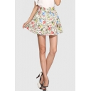 Floral Printed Summer's Leisure Chiffon A-Line Mini Skirt
