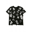 Street Style Cartoon Printed Round Neck Short Sleeve Graphic Tee
